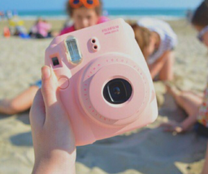 camera, beach, and pink image