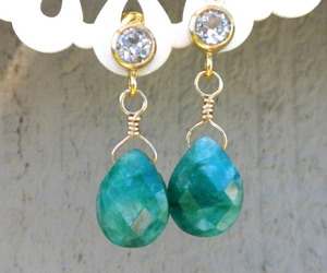 healing stones, gold filled earrings, and emerald stone earrings image