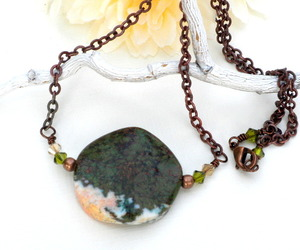 healing stone, green pendant, and unakite necklace image