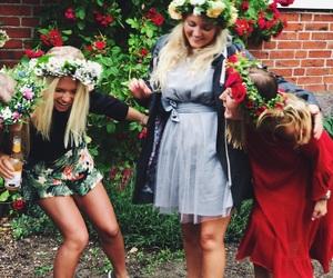 flowers, girls, and midsummer image