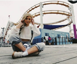 blonde, girl, and rollercoster image
