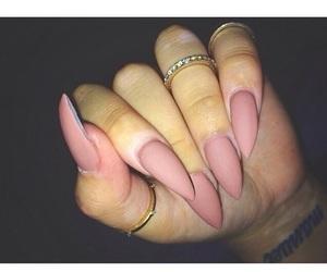 nails, pink, and matte image