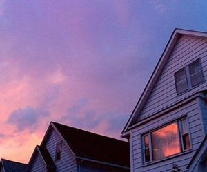 beautiful, house, and sunset image