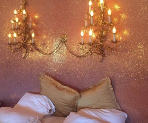 bedroom, pink, and light image