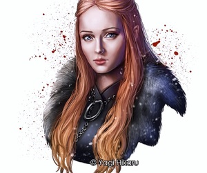 a song of ice and fire, beautiful red hair girl, and fan digital art image