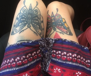 black and white, tattoo, and butterfly image