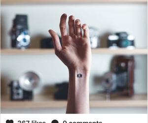 camara, hand, and small tattoo image