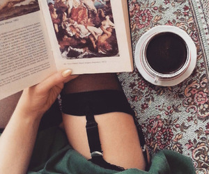 tea, book. fashion, and black. coffee image
