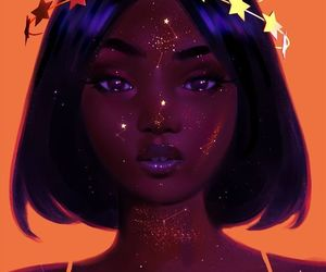 art, stars, and black image