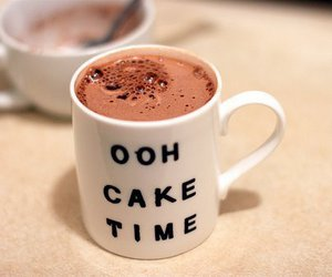 cake, chocolate, and drink image