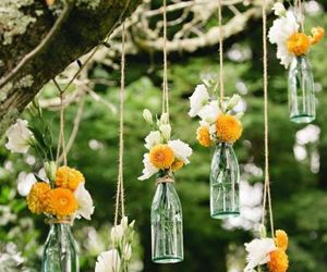 flowers, bottle, and decoration image