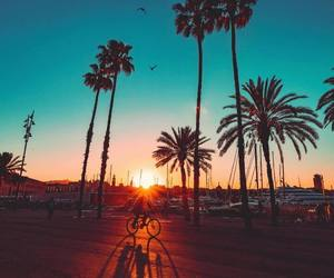 sunset, beach, and blue image