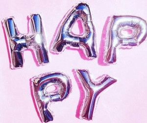 happy, pink, and balloons image