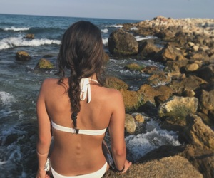 beach, bikini, and braid image