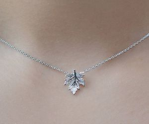 necklace, leaves, and silver image