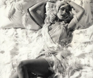 2000s, black and white, and christina aguilera image