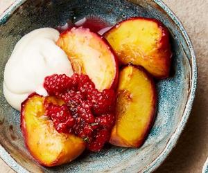 dessert, fruit, and peach image