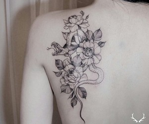 flower, girl, and linework image
