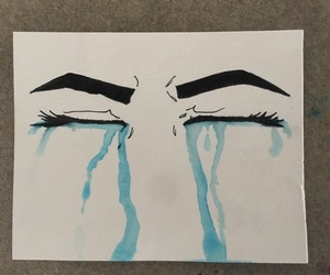 art, blue, and sad image
