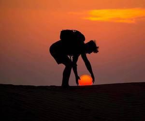 sun, sunset, and nature image