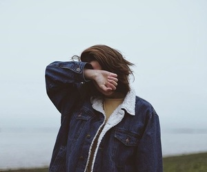 girl, denim jacket, and grunge image