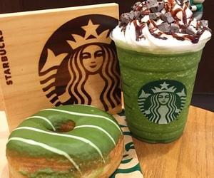donut, starbucks, and greentea image