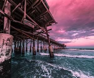 bridge, landscape, and sea image