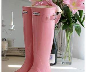 boots, pink, and rain image
