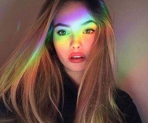 girl, rainbow, and beautiful image
