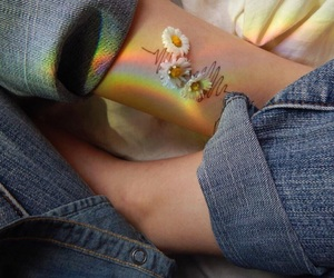 flowers, jeans, and hands image