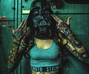 tattoo, girl, and darth vader image