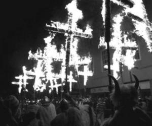 cross, fire, and satan image