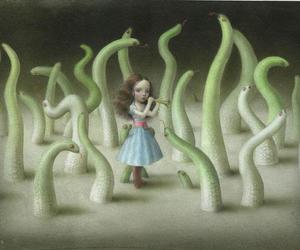 art, girl, and snake image