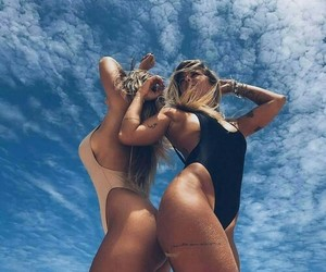 girl, summer, and sky image