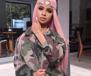 army, pink hair, and armygreen image