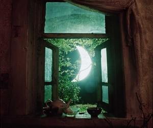 moon, window, and night image
