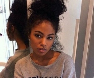 beautiful, brown skin, and bun image