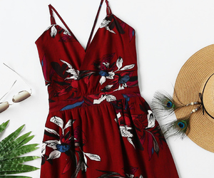dress, floral, and red image