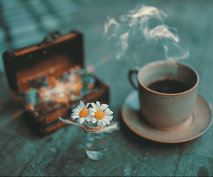 coffee, flowers, and love image
