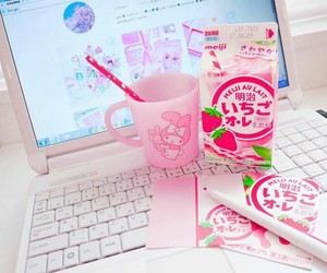 desk, pink, and stationery image