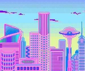 pixel, city, and pink image