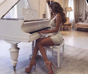 girl, luxury, and piano image