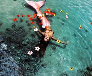 girl, mermaid, and ocean image