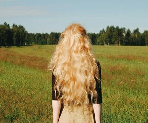 hair, blonde, and field image