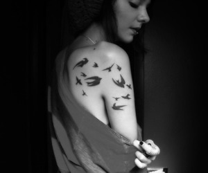 tattoo, bird, and girl image