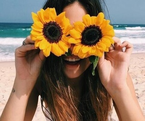 beach, girl, and flowers image