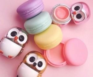 owl, lip balm, and pink image
