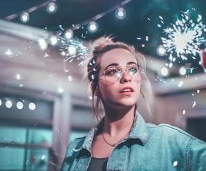 girl, lights, and photography image
