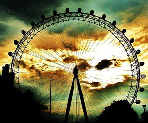 photography, sunset, and ferris wheel image
