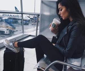 girl, travel, and starbucks image